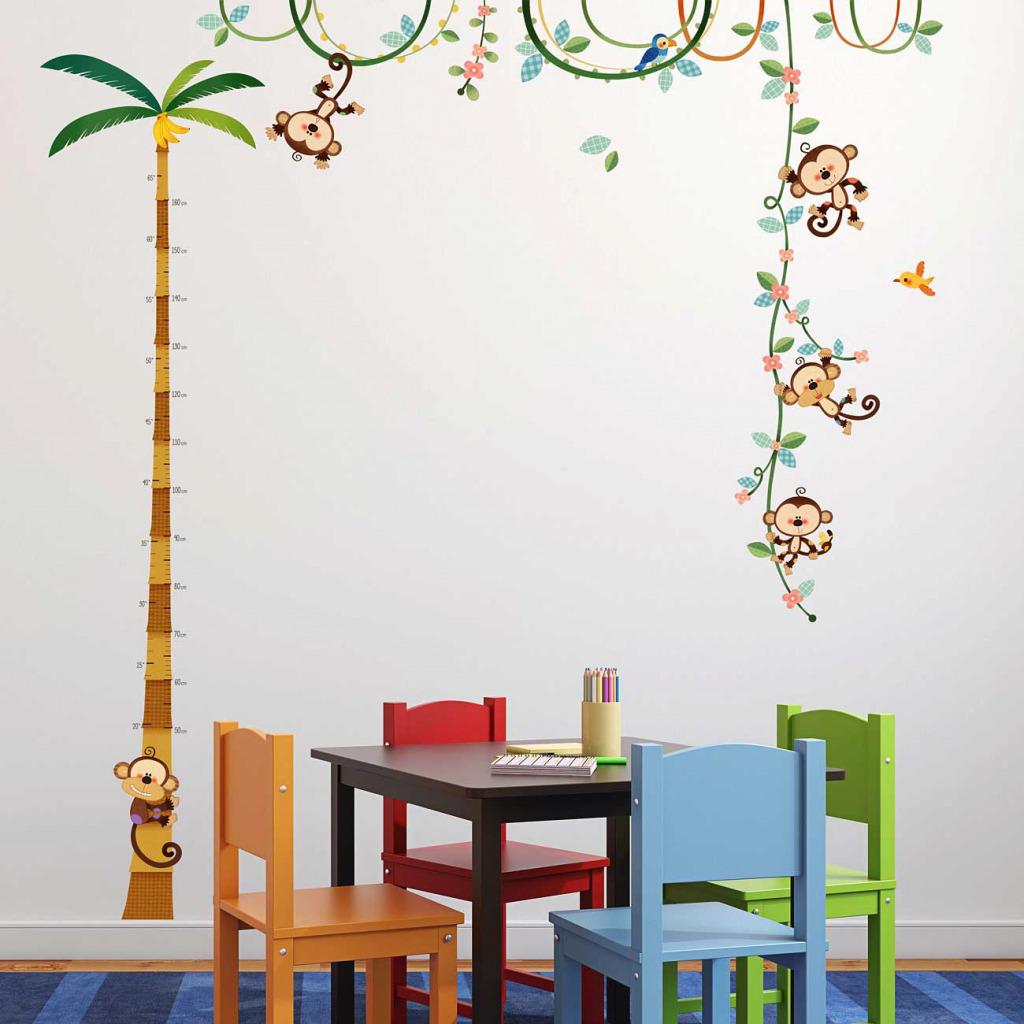 Wandsticker Messlatte Affen Spielzimmer