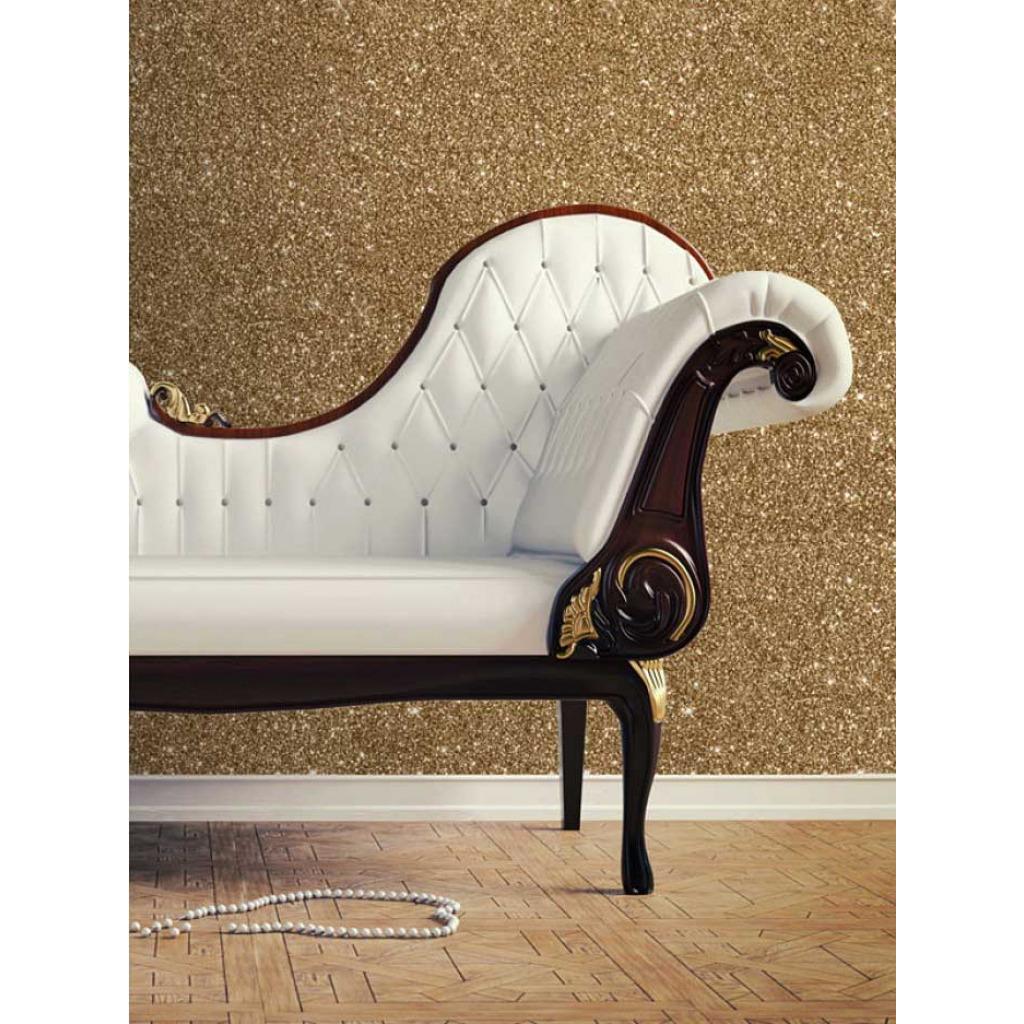 Tapete Gold Glitter Effekt Salon