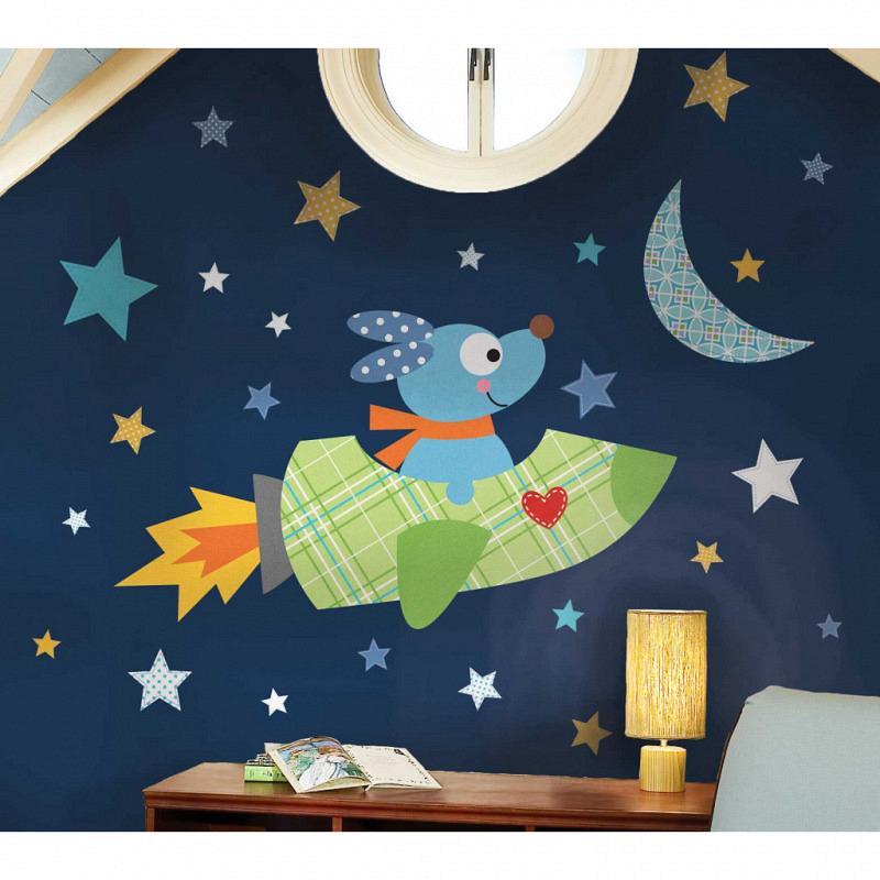 RoomMates XXL Wandbild Raketen Hund Weltall