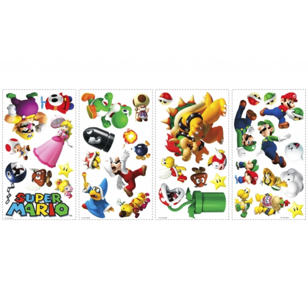 35 wandsticker wandtattoo super mario kinderzimmer roommates nintendo neu. Black Bedroom Furniture Sets. Home Design Ideas