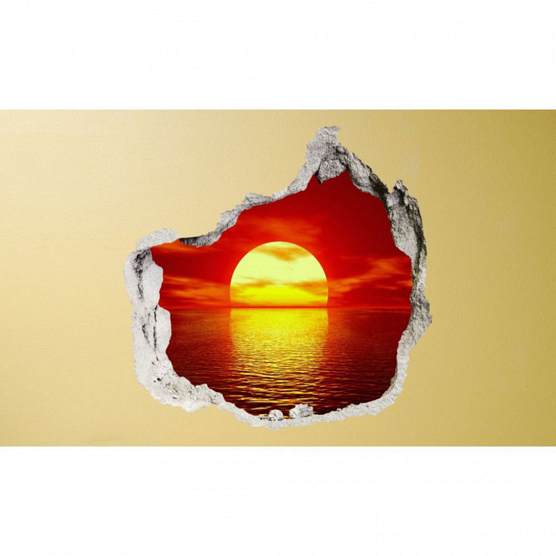 Wandsticker 3D-Optik goldener Sonnenuntergang