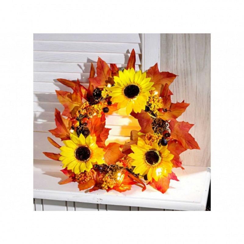 Türdeko Sonnenblumen mit Beleuchtung