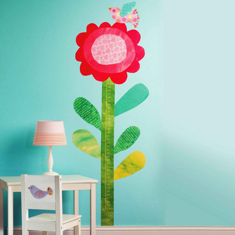 Wallies Wandsticker Messlatte Blume mit Vogel