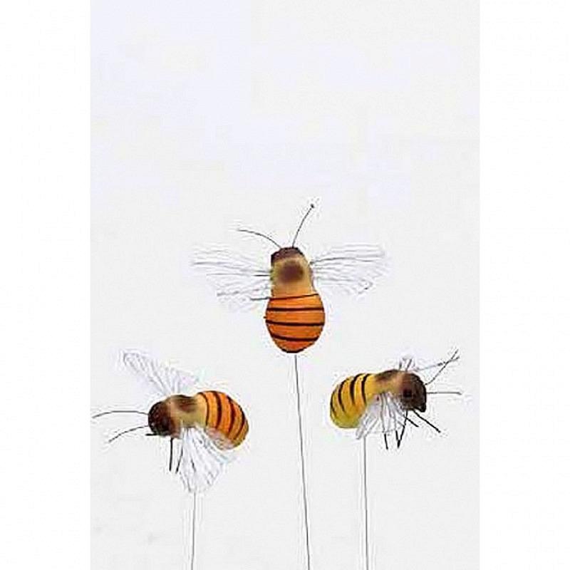 Deko-Bienen am Stab Frühjahrsdeko 12er Set