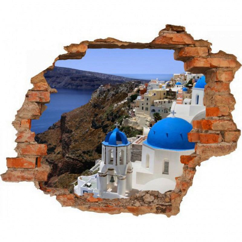 Wandsticker 3D-Optik Santorini