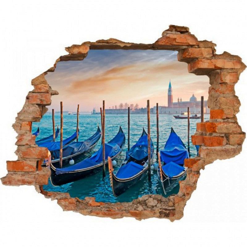 Wandsticker 3D-Optik Gondeln in Venedig