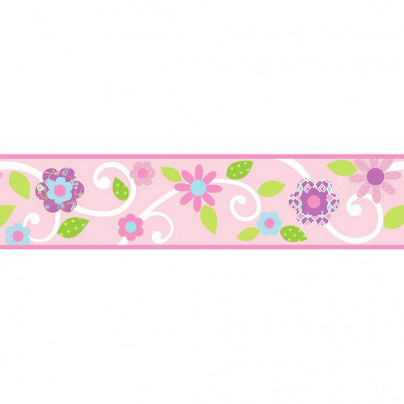 RoomMates Bordüre Floral Scroll pink