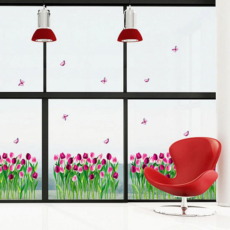 Wandsticker Schmetterlinge und Tulpen purpur