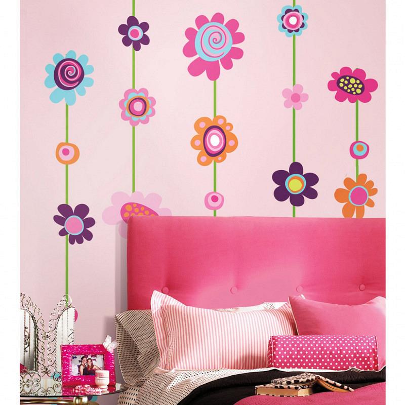 RoomMates Wandsticker Blumenstreifen Blüten
