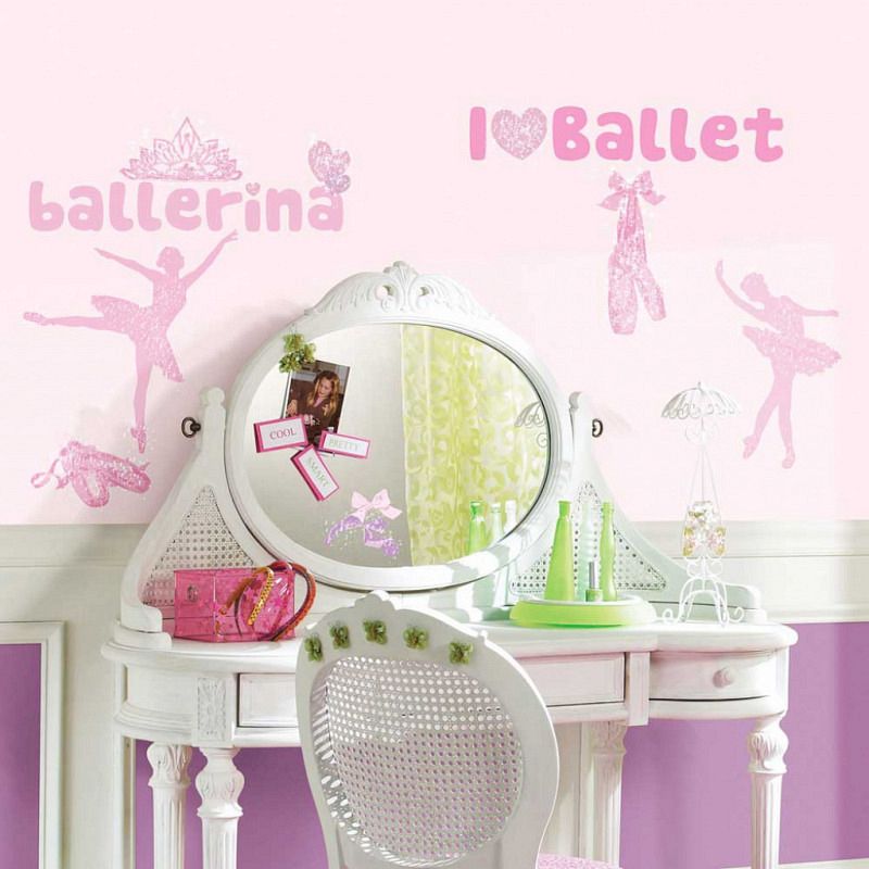 RoomMates Wandsticker Ballett Prima Ballerina Glitter
