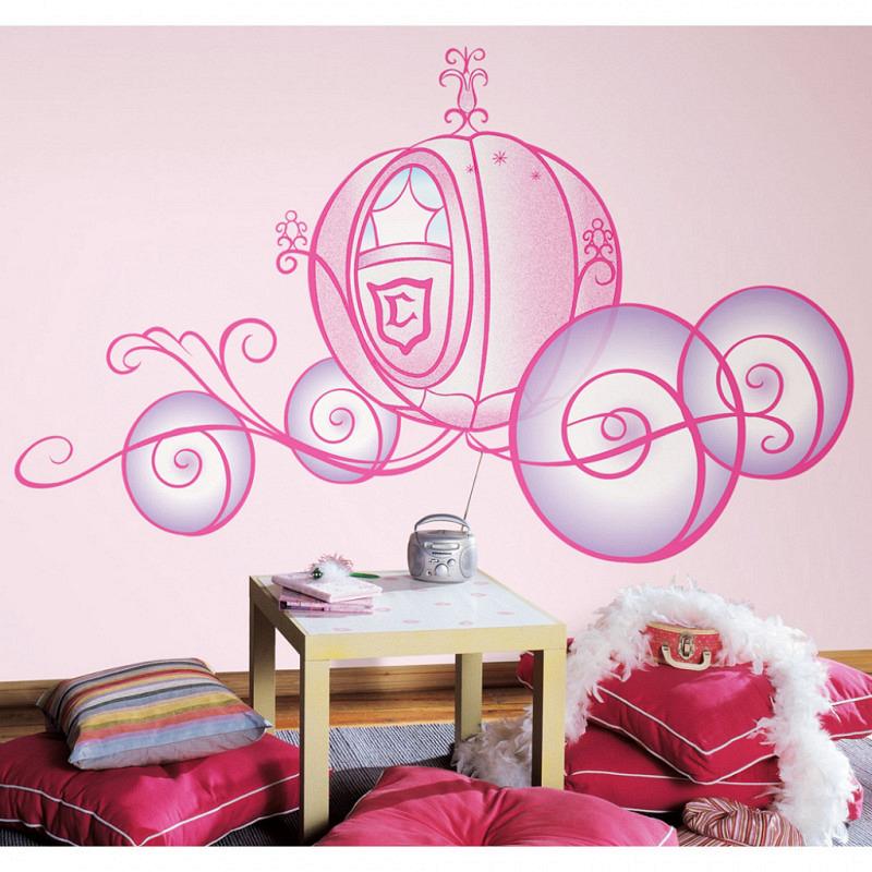 RoomMates Riesen Wandsticker Disney Princess Hochzeitskutsche Glitter