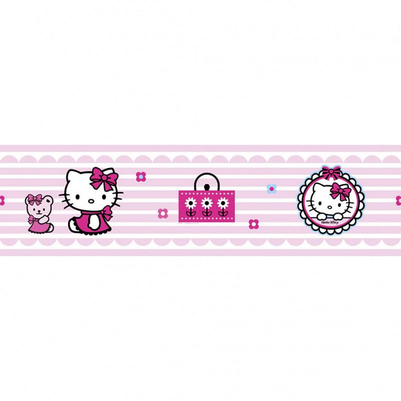 Kinderzimmer Bordüre Hello Kitty Candy Stripe