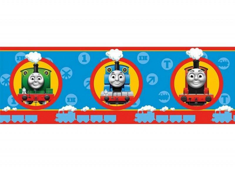 Kinder Bordüre Lokomotive Thomas blau