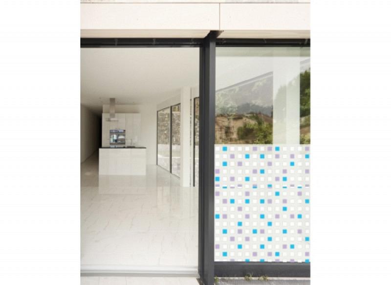 Fensterfolie selbstklebend Quadrate milchweiß