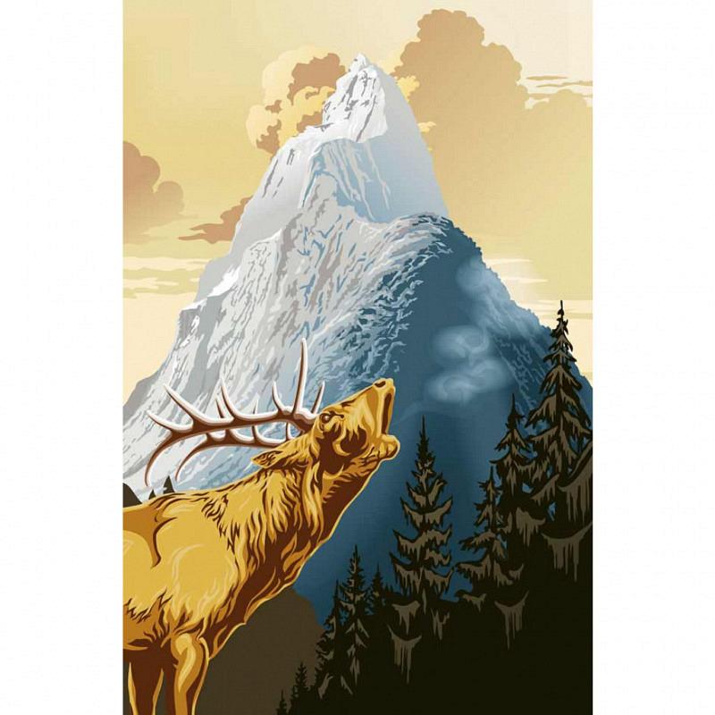 Wandbild Poster Hirsch König der Berge