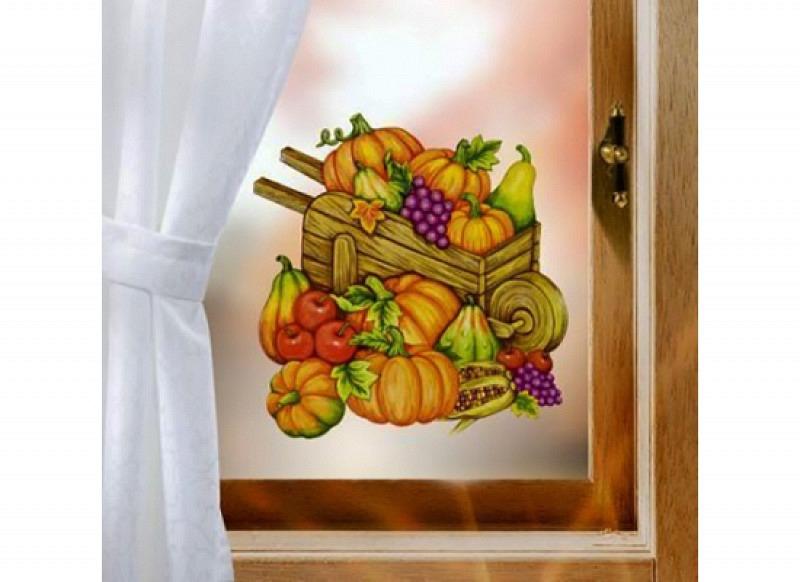 Fensterbild Herbst K�rbisse Erntewagen glitzernd