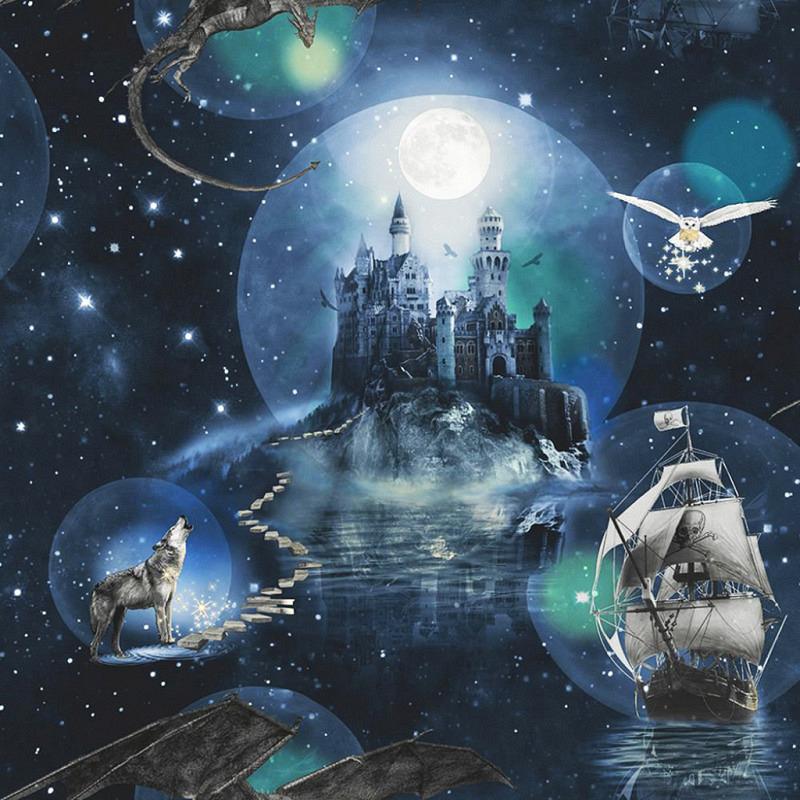 Tapete magisches Königreich blau