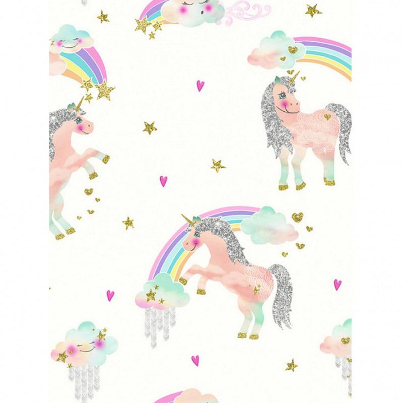 Tapete Einhorn Regenbogen weiß
