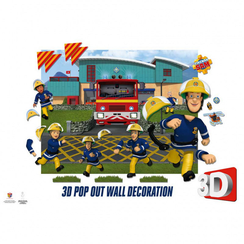 3D Pop Out Fototapete Feuerwehrmann Sam