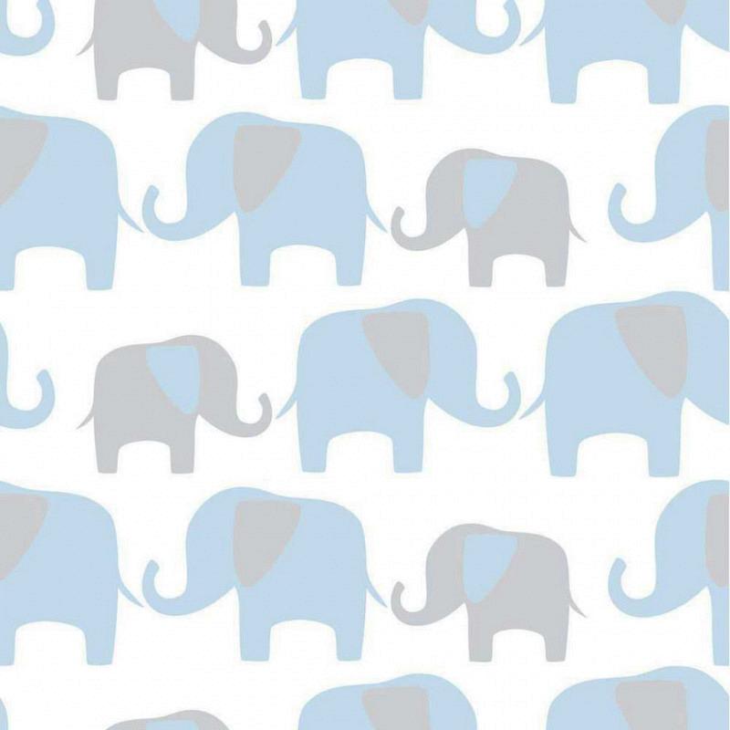 Tapete selbstklebend Elefantenparade blau
