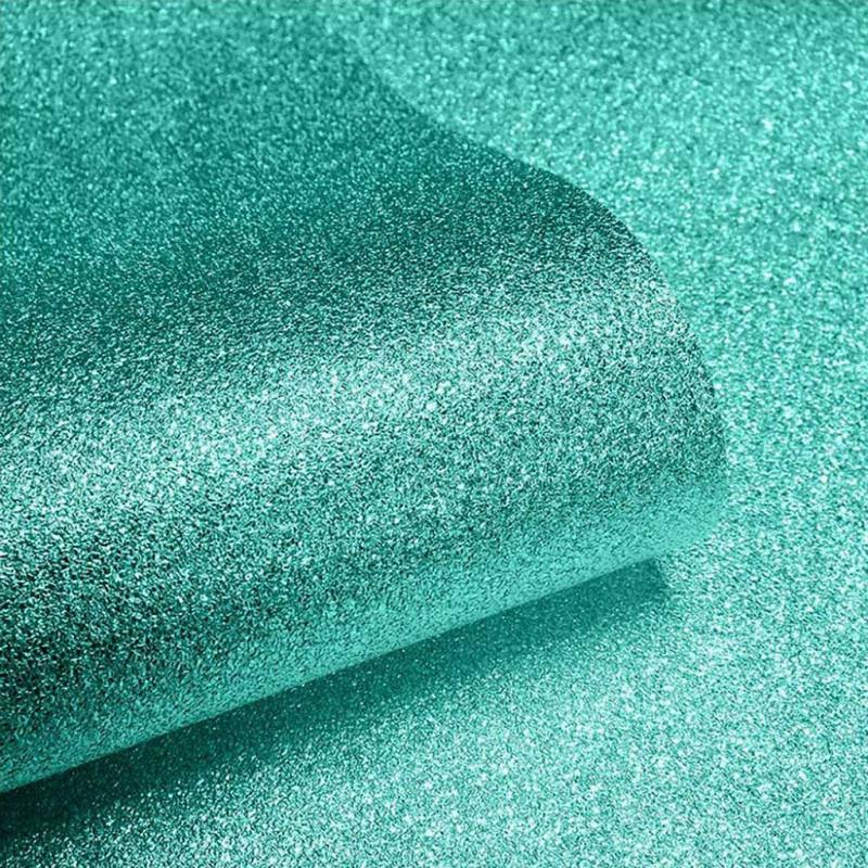 Tapete blaugrün Glitter Effekt