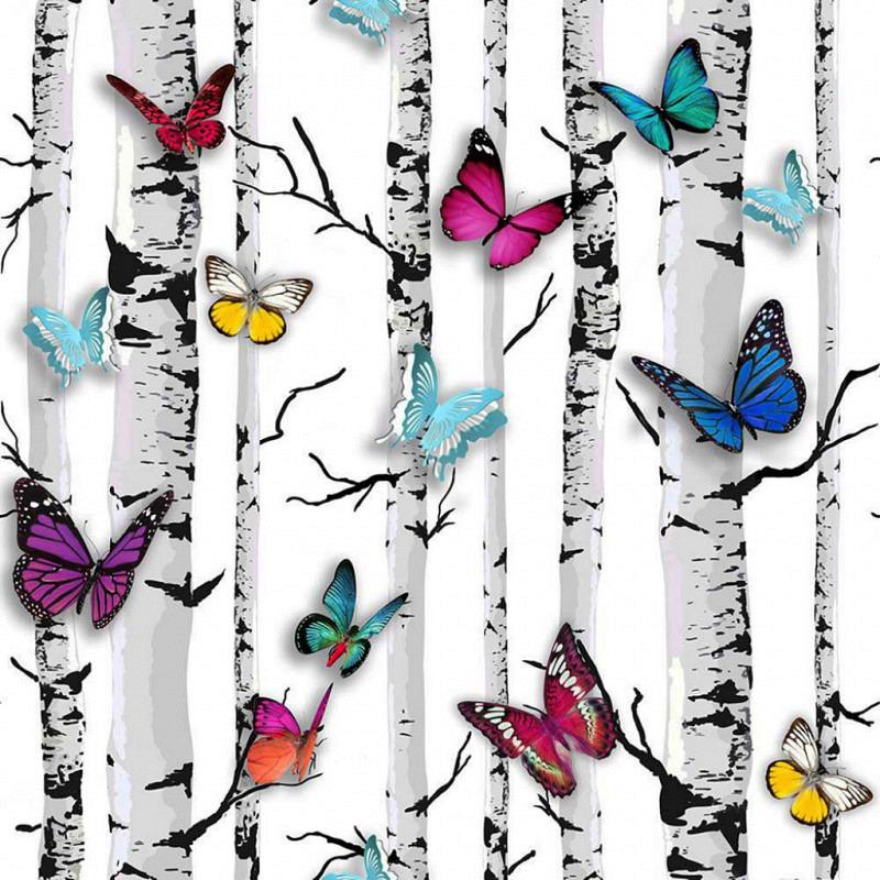 Tapete Birkenstamm Schmetterlinge