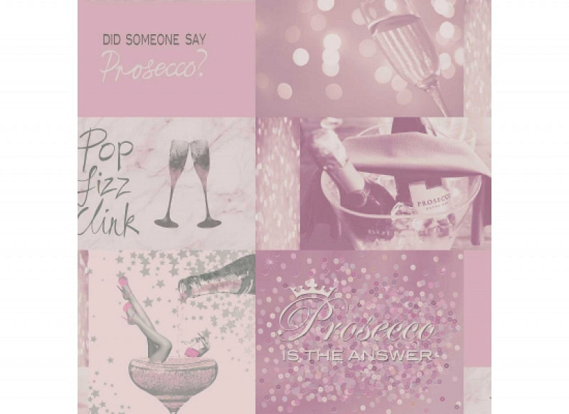 Tapete Prosecco Time pink silber