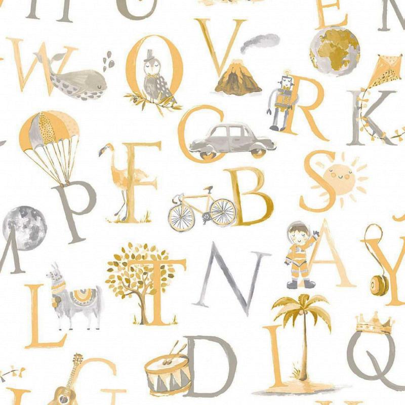 Ökotapete Alphabet gelb