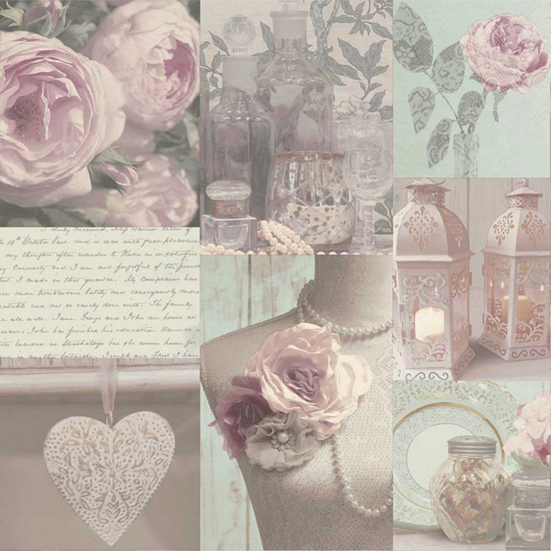 Tapete Floral Collage rosa