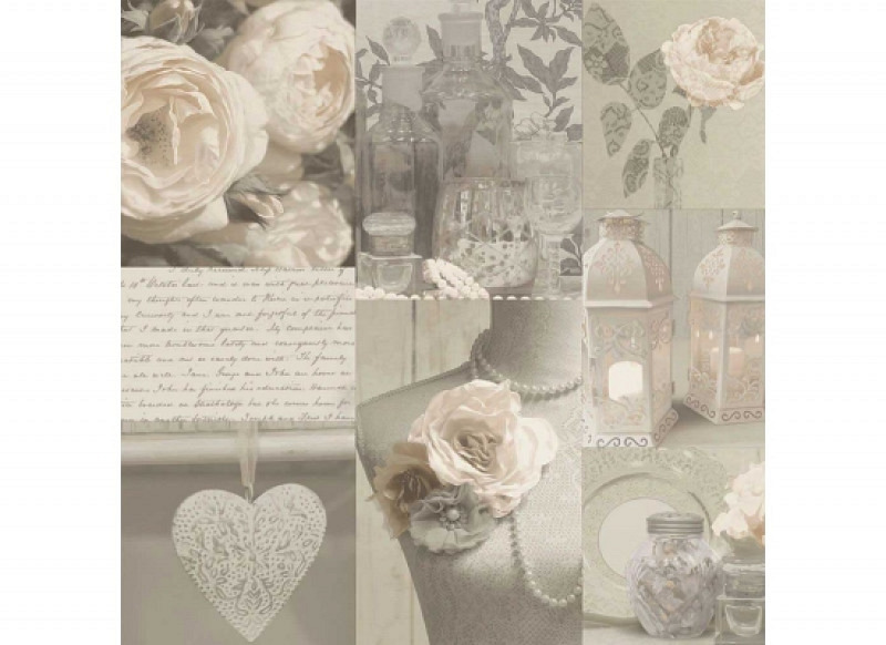 Tapete Floral Collage neutral