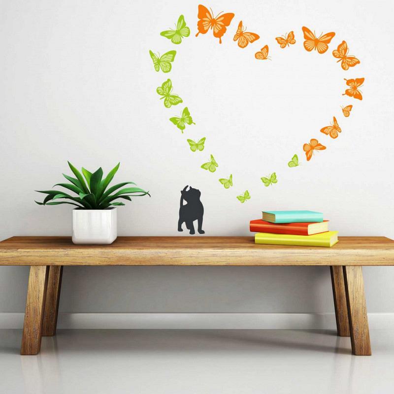 Wandsticker Katze Kitty liebt Schmetterlinge