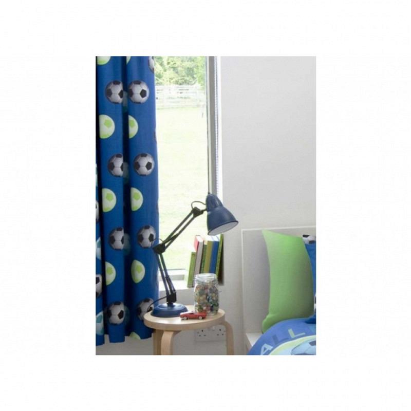 Kinderzimmer Gardine Fußball blau
