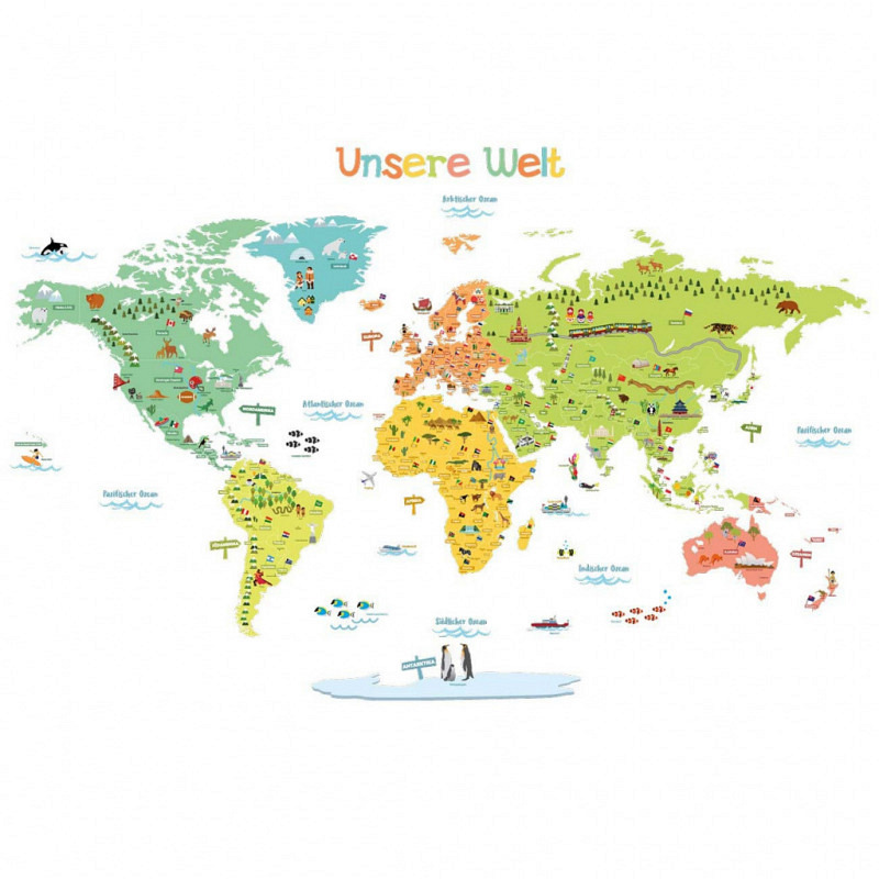 Wandsticker bunte Weltkarte deutsch