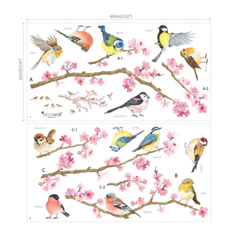 Wandtattoo Gartenvögel auf Kirschblütenzweig