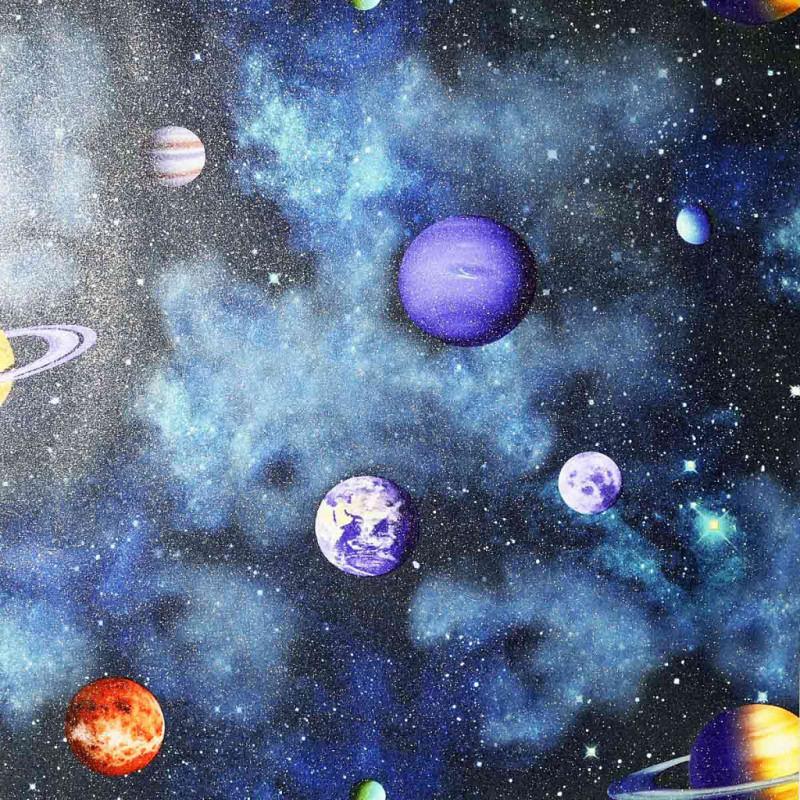 Tapete Planeten Sterne Sonnensystem 3D blau