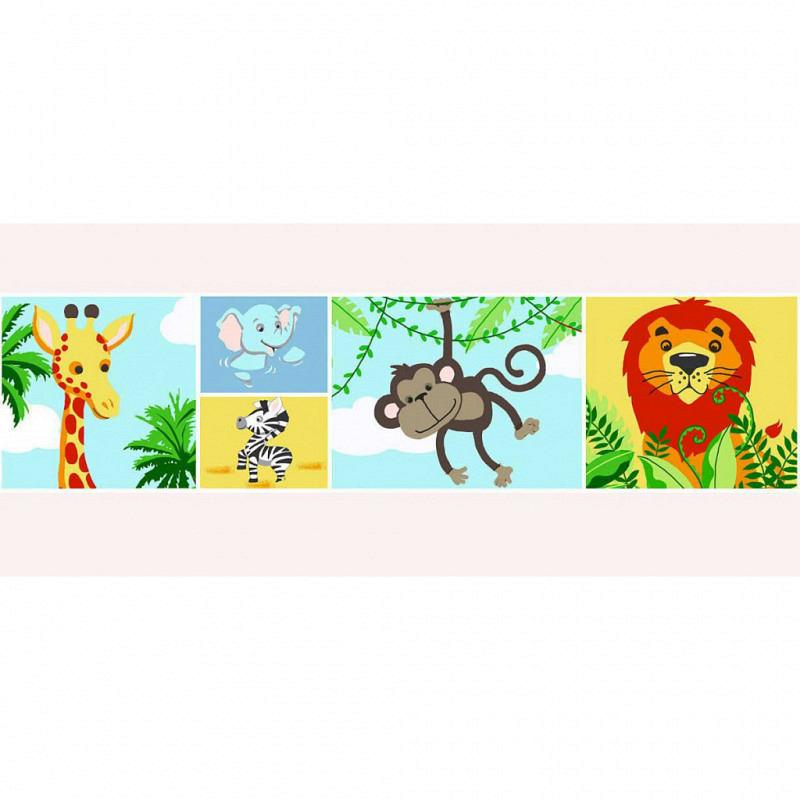 Bordüre Dschungel Löwe Zebra