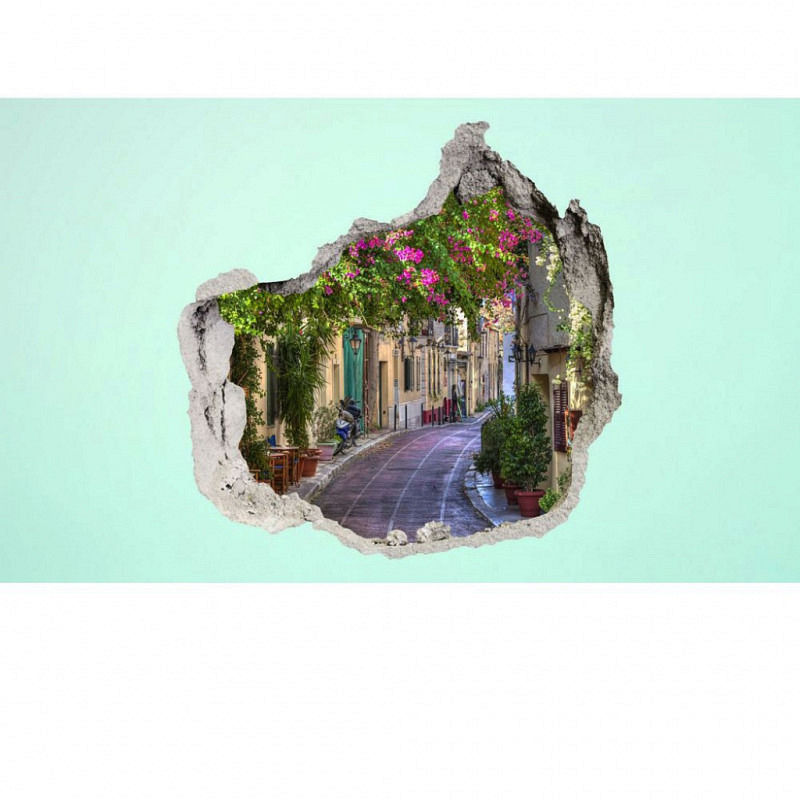 Wandsticker 3D-Optik mediterrane Blütengasse