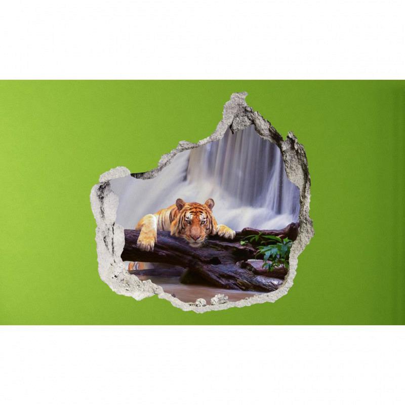 Wandsticker 3D-Optik Tiger am Wasserfall