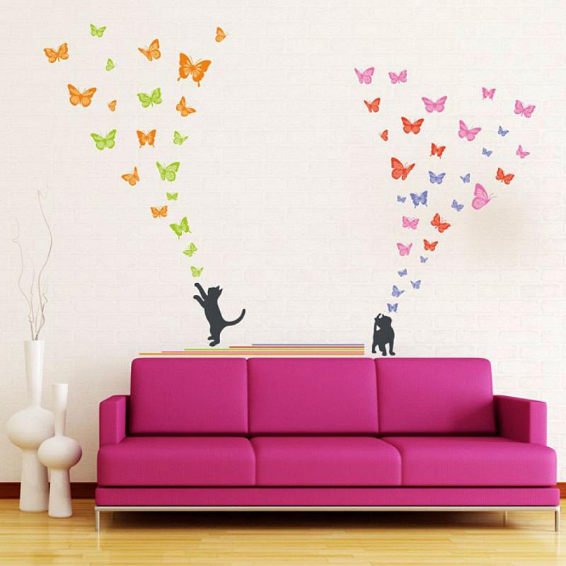 Wandsticker Katzen lieben Schmetterlinge