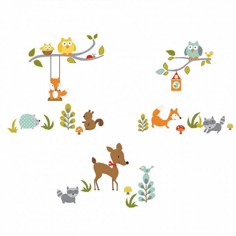 RoomMates Wandsticker Fuchs Eule Waldtiere