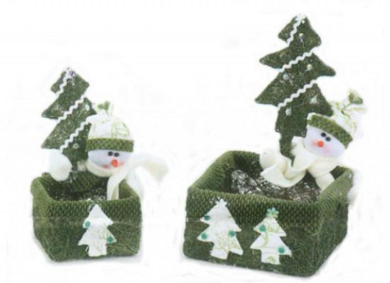 Geschenkverpackung Schneemann grün 2er Set