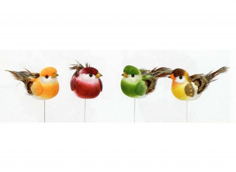 Bunte Deko Vögel im 12er Set 5,5cm