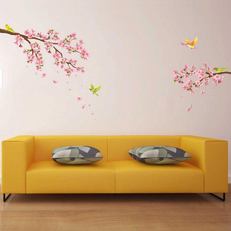 Wandtattoo Singvögel auf Kirschblütenzweig