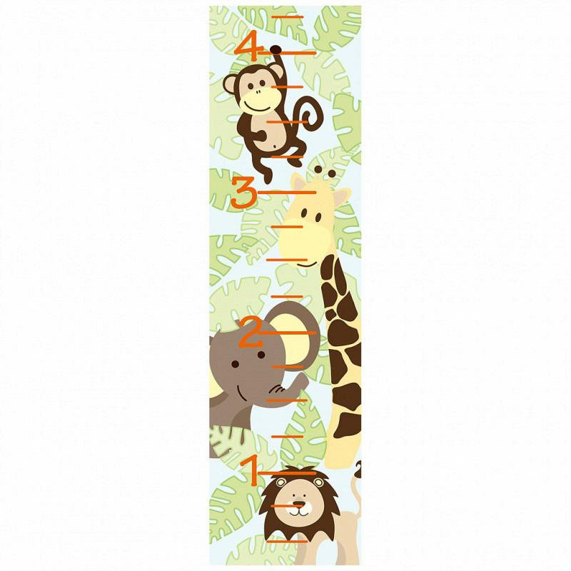 Messlatte Wandsticker Safari Dschungeltiere