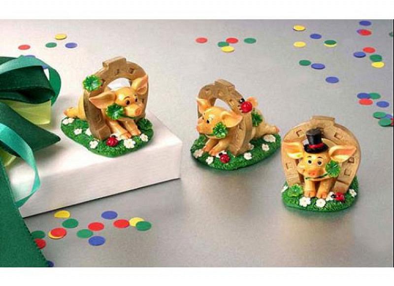 Glückschwein mit Hufeisen Aufkleber 3er-Set
