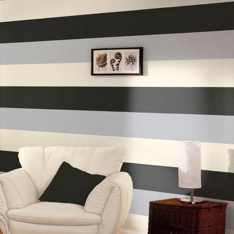 Streifen Tapete Schwarz Silber Creme