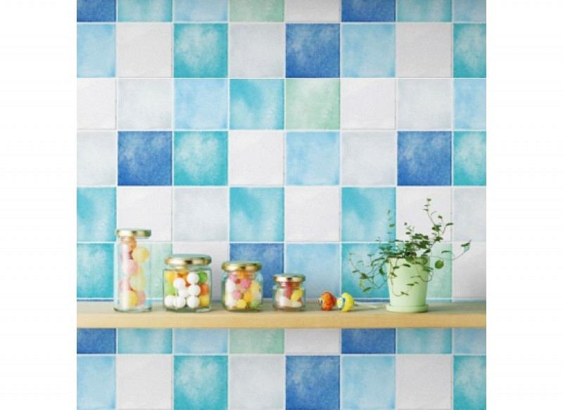 Tapete selbstklebend Fliesenspiegel blau