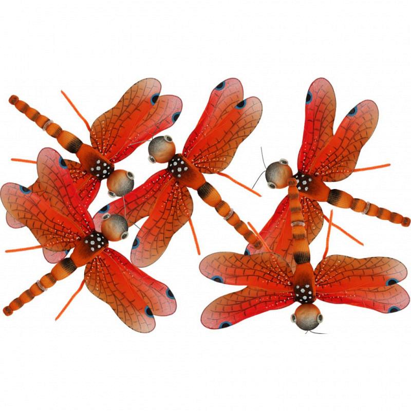 Libelle 4er Set mittelgroß orange