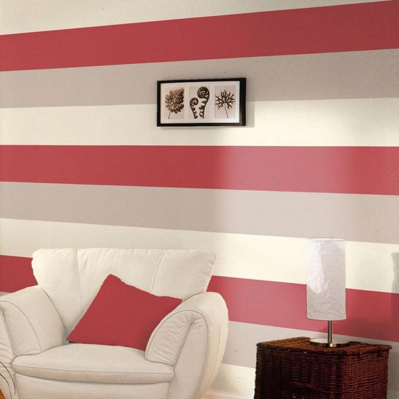 Streifen Tapete Rot Creme Grau