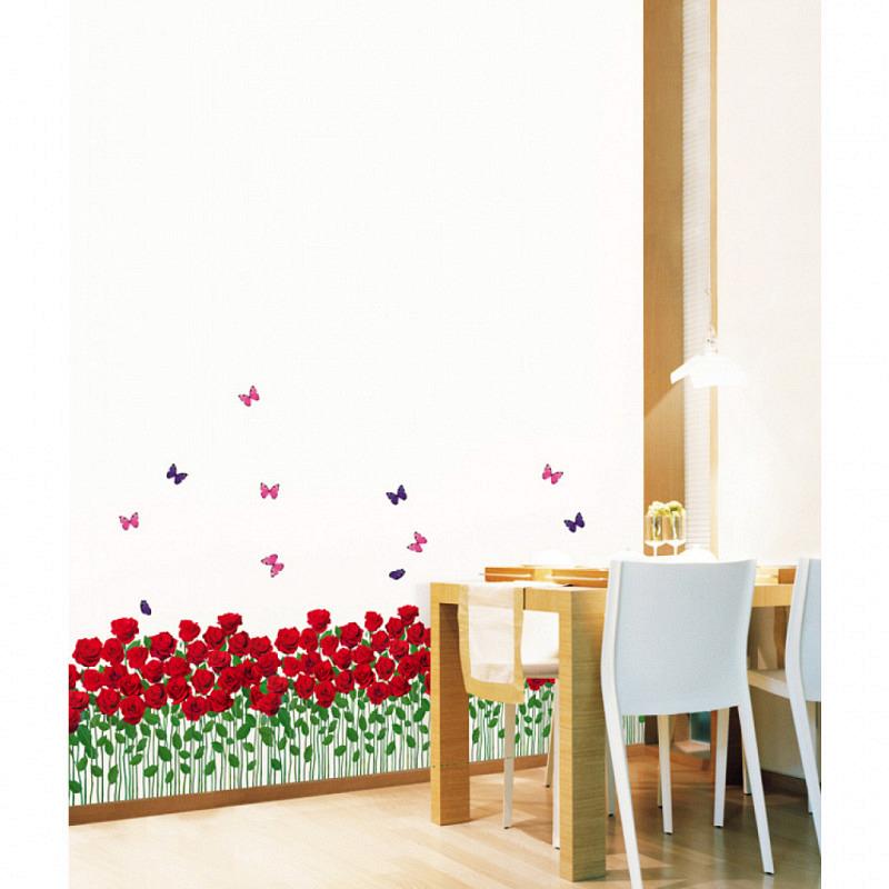 Wandsticker Rosenbeet mit Schmetterlingen